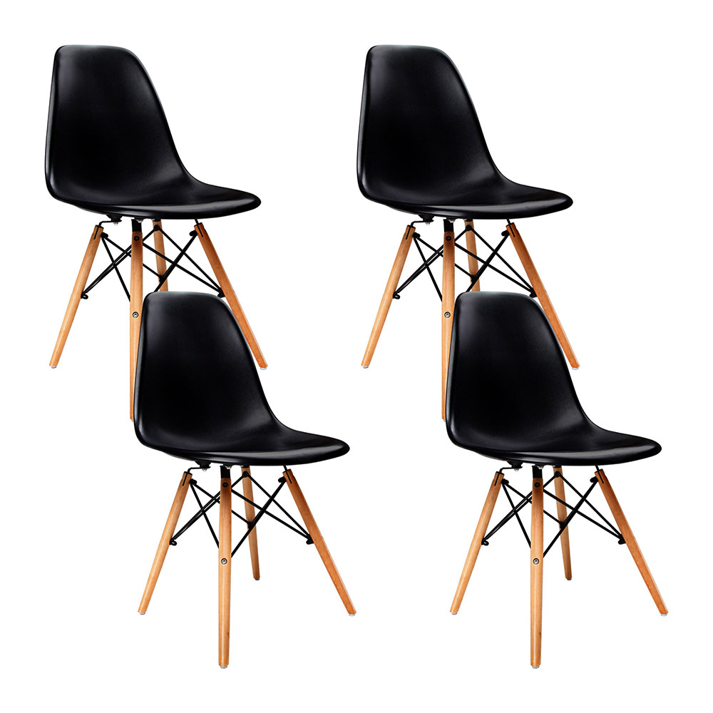 4 x Metz  Beechwood Leg PP Dining Chairs Black