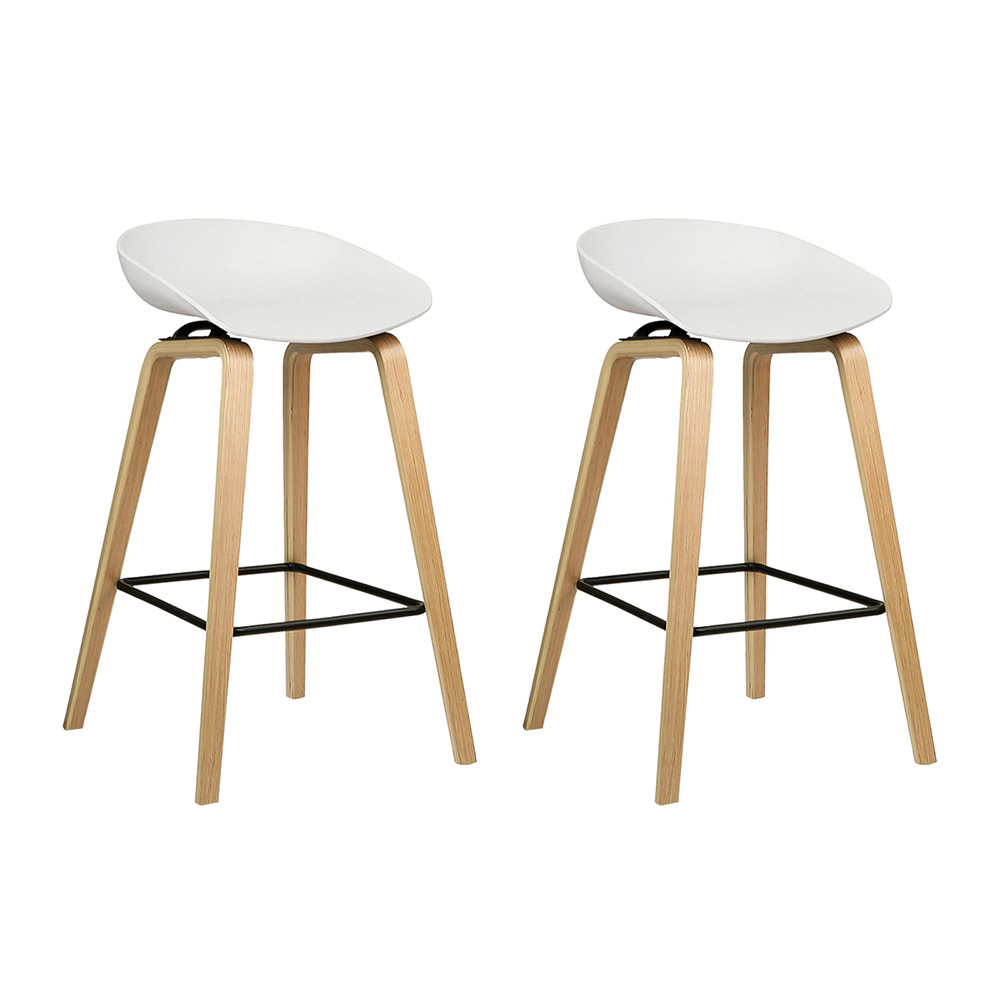 2 x Cliff Backless Wooden Bar Stools White