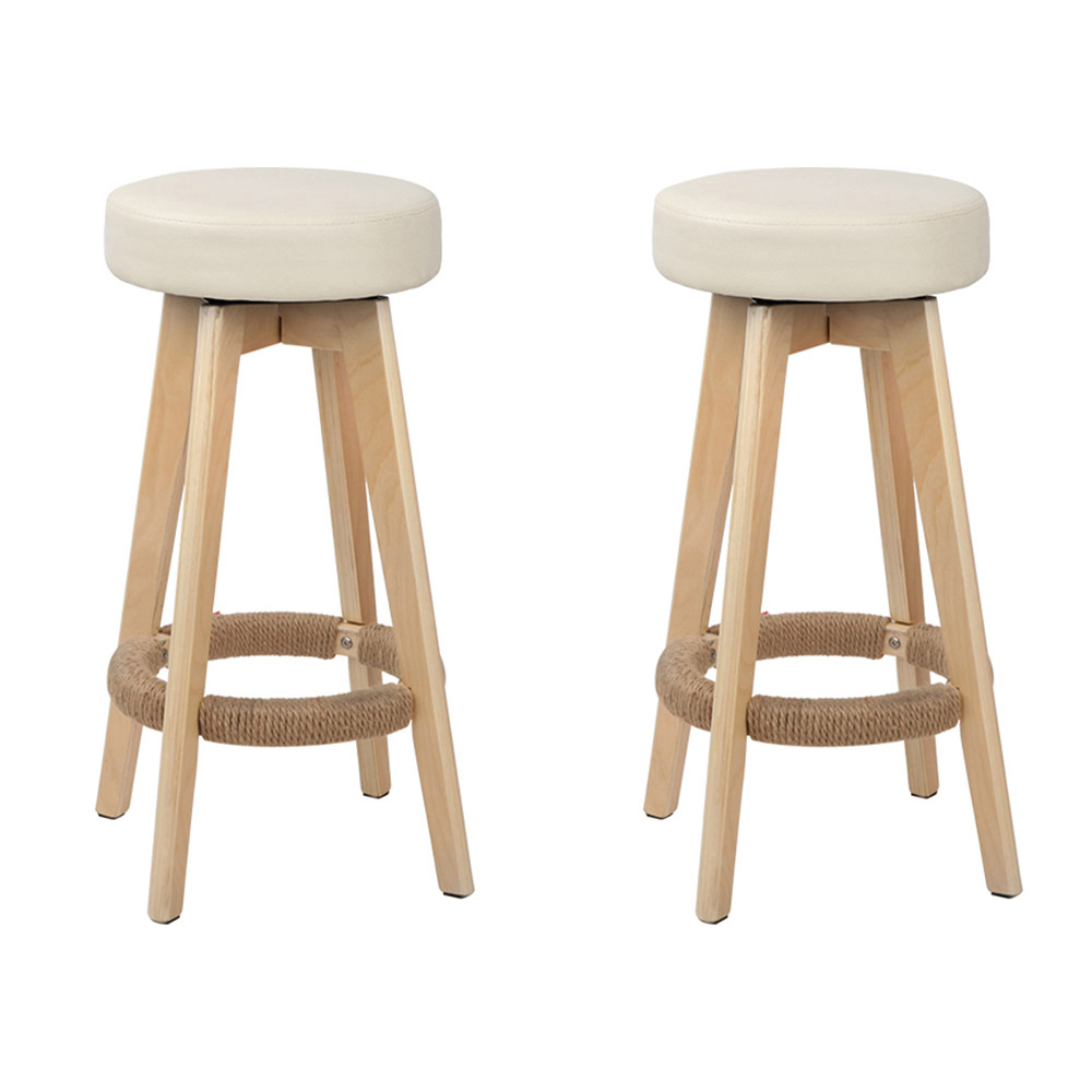 2 x Milda Beige PU leather Round Bar Stools