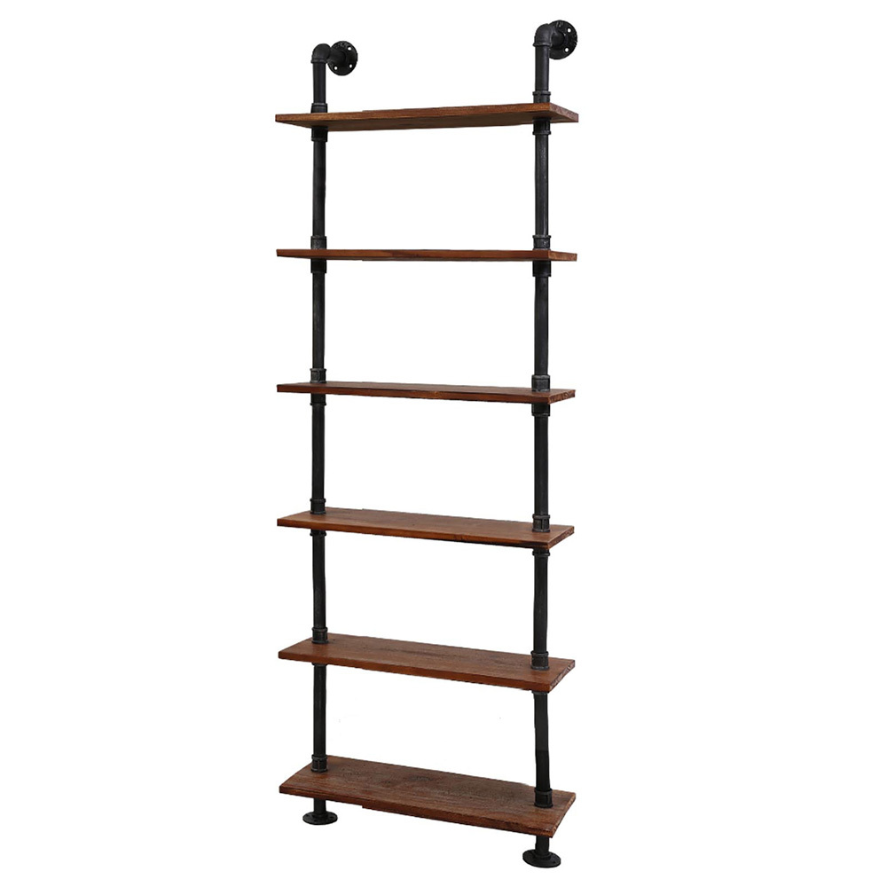 Ivan 6 Level Industrial Pipe Wooden Bookshelf