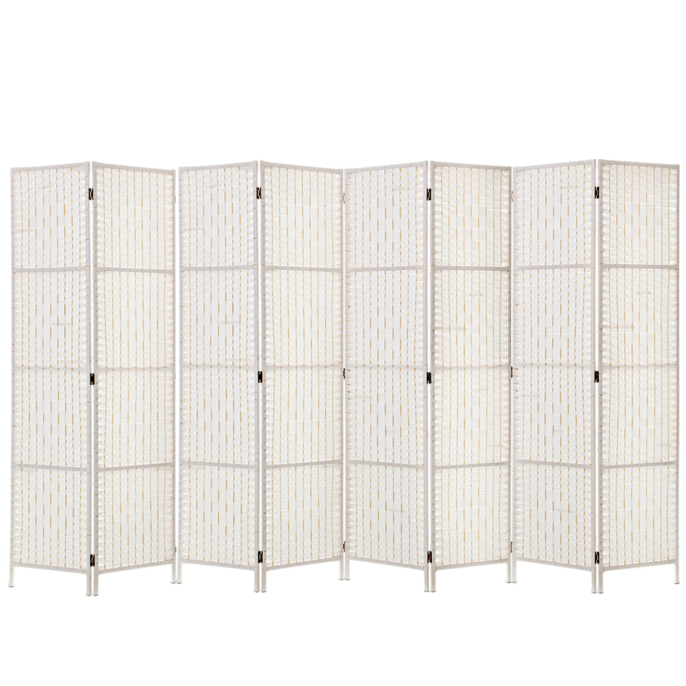 Elida Pinewood Frame 8 Panel Hand-woven Rattan Room Divider White