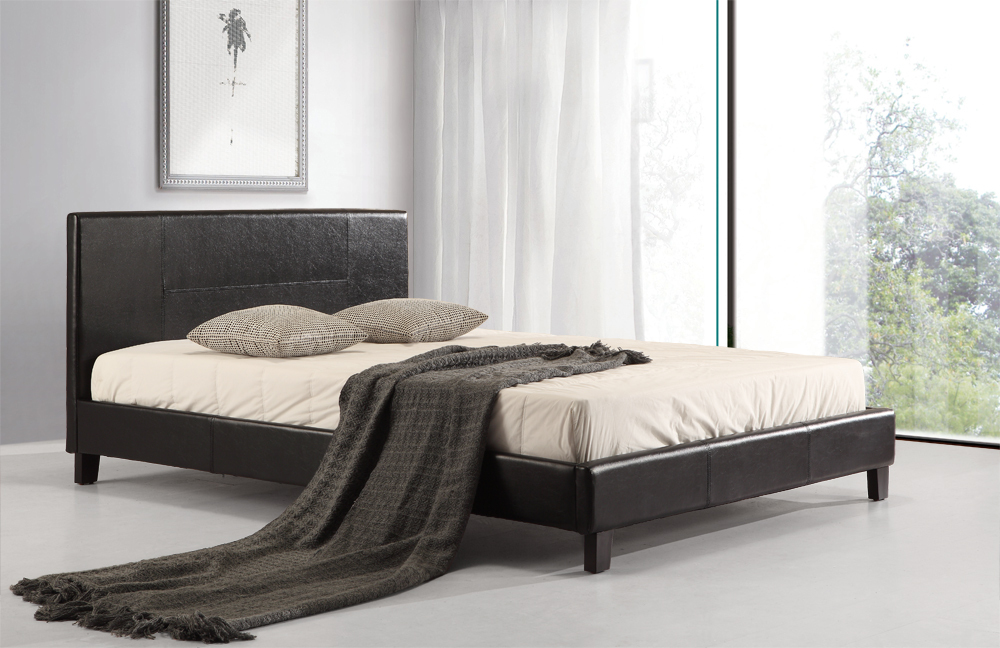 Kina Black PU Leather Bed Frame Double