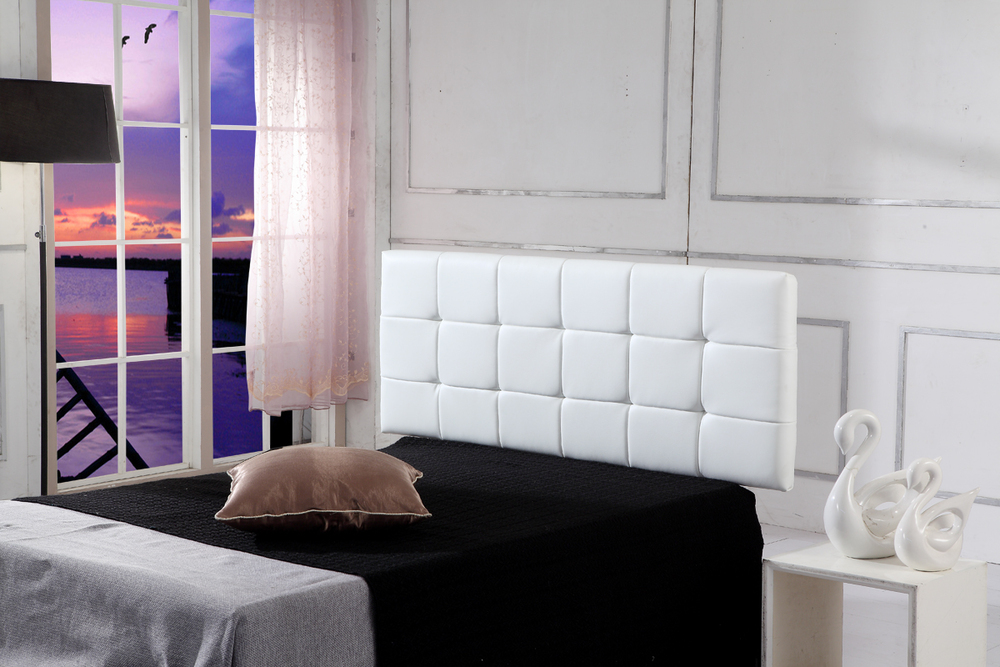 Deluxe PU Leather White Double Bed Headboard