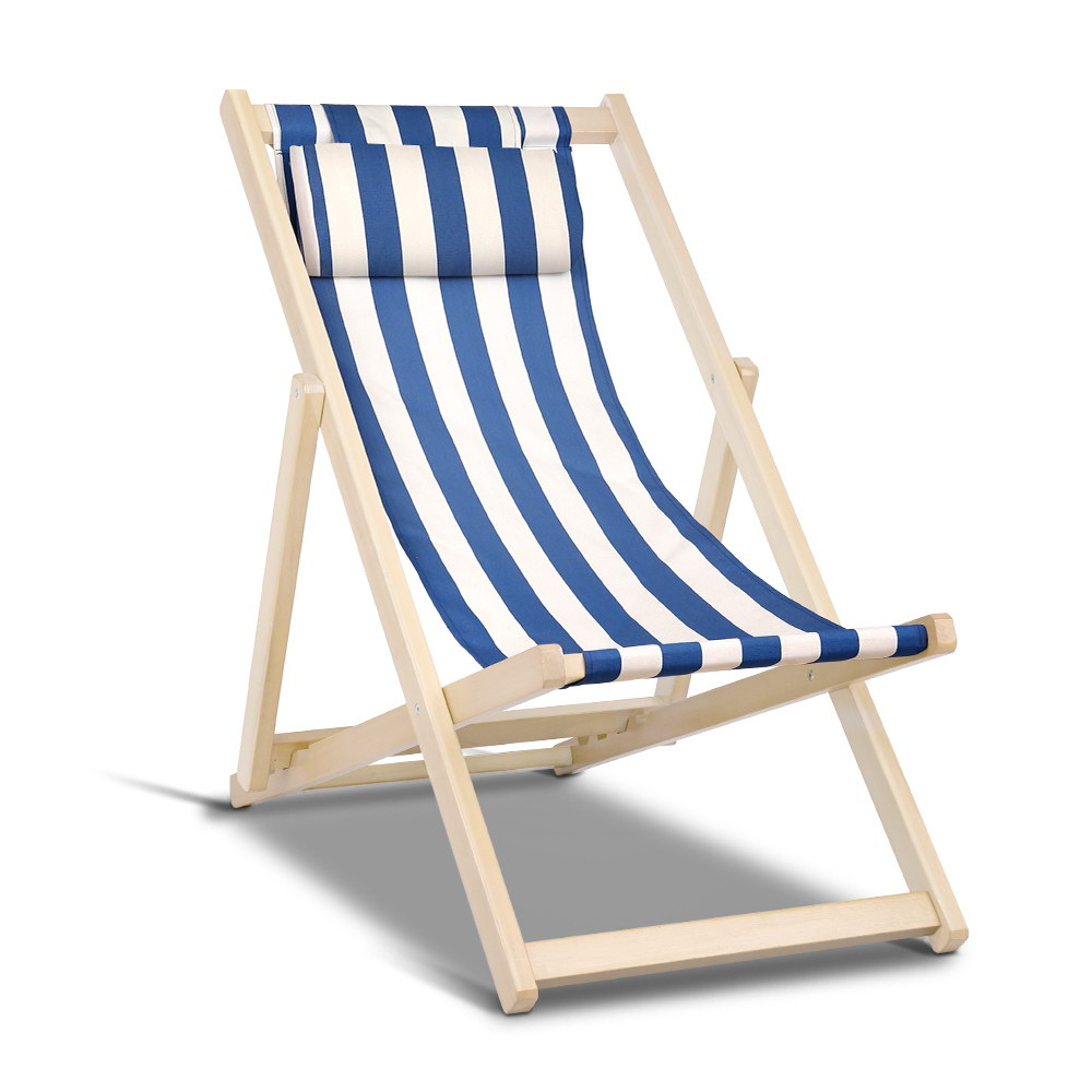 Roxy Blue and White Foldable Beach Sling Chair