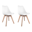 2 x Metz PU Leather Wooden Leg Dining Chairs White