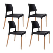 4 x Ora Staackable Wooden Black Dining Chairs