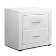 Moda PU Leather Bedside Table  White