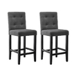 2 x Ira Charcoal Fabric French Provincial Bar Stools