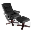PU Leather Recliner Armchair with Ottoman Black