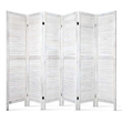 Elida 6 Panel Solid Paulownia Wood  Room Divider White