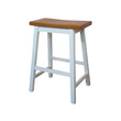 2 x Saddle Bar Stools Timber Seat Age Teak / White 45cm