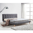 Hilton Linen Fabric Deluxe King Bed Frame Grey