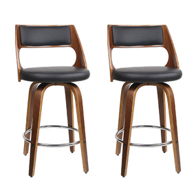 2 x Jere Wooden Bar Stools Black