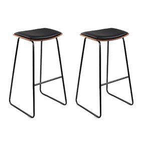 2 x Backless Industry Bar Stools Black