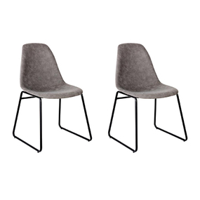 2 x Mei Grey PU Leather Dining Chairs