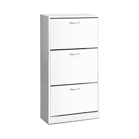 Luz 3 Tier Shoe Cabinet White