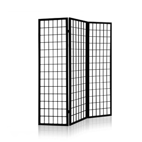 Elida 3 Panel Wooden Room Divider Black