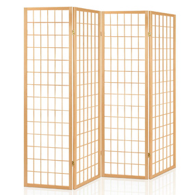 Elida 4 Panel Wooden Room Divider Natural