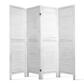 Elida 4 Panel Paulownia Wood Room Divider White