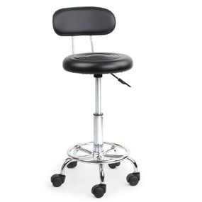 PU Leather Salon Swivel Backrest Chair Black