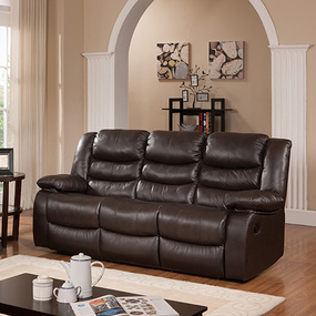 Leta 3 Seater Brown Bonded Leather Recliner Sofa